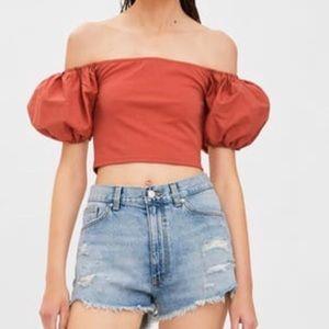 Zara contrast orange top